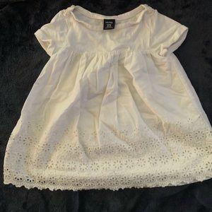 White, short-sleeve baby Gap dress 12-18 mos